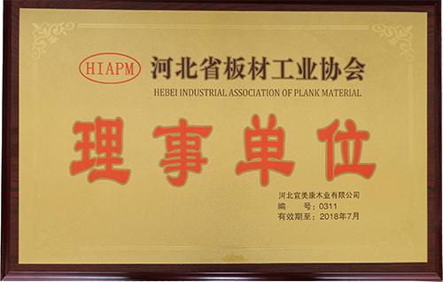 宜美康—河北省板材工业协会理事单位证书