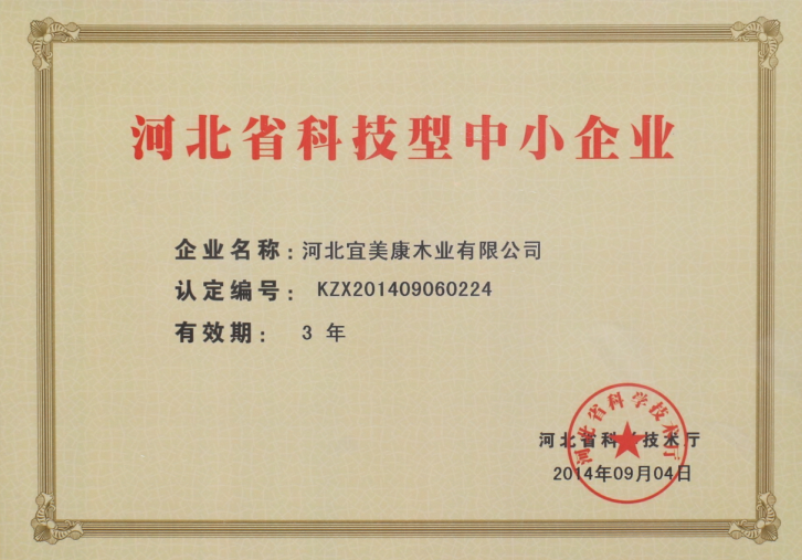 宜美康科技型中小企业证书